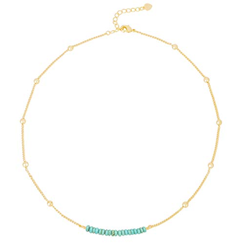 (PearlyPearls 18k Gold Satellite Beaded Curb Ball Chain Necklace Dainty Turquoise Choker Necklace for Women Simple)