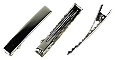 HipGirl Flat Metal Alligator Clips with Teeth, Silver, 47 mm, 100 Count