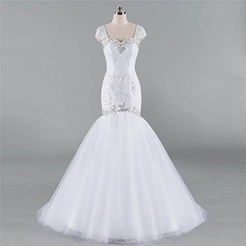 Amazon.com  Tulle and Lace Mermaid Wedding Dresses Cap Sleeve Bridal  Reception Gowns with Beads  Handmade efeb9f493deb