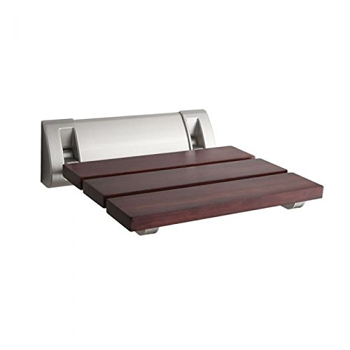 - Hudson Reed Wall Mounted Wooden Folding Shower Seat In A Luxury Sapele Finish & Chrome Hinges