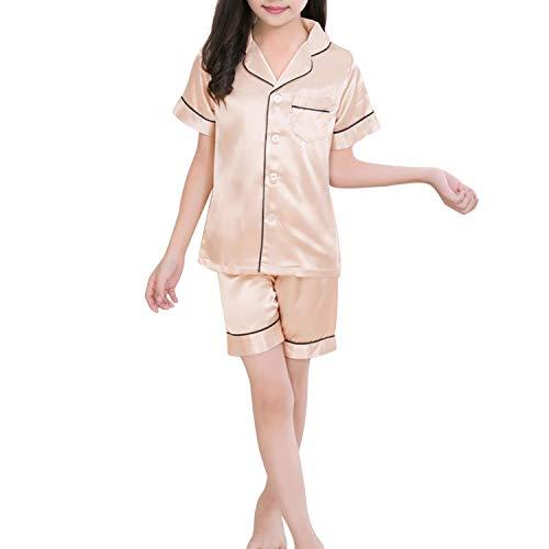 Kids Satin Pajamas Set Pjs Short Sleeve Button-Down Sleepwear Loungewear Set Girls Boys Pajamas Set Champagne ()