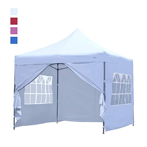 (Leisurelife Heavy Duty 10'x10' Pop-up Wedding Tent with Sidewalls - Outdoor Folding Commercial Gazebo Party Tent White)