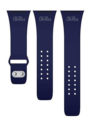 Affinity Bands Mississippi Ole Miss Rebels Debossed Silicone Band Compatible with The Apple Watch - 42mm/44mm