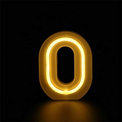 Maikouhai Alphabet Letter Numbers Lights LED Night Light Up White Plastic Numbers Standing Hanging 0-9 with 40 LED, Indoor, Home, Shopwindow, Club, Party, Holiday Wedding Decor (0)
