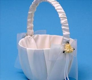 Paper Rose Flower Girl Basket Beverly Clark Ivory Wedding Collection by RaeBella Weddings & Events New York