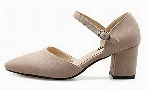 apricot Buckle Blend Pointed Heels Kitten VogueZone009 Materials CCALP014475 Sandals Women Toe 1Hx7vW0q