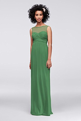 - Long Mesh Bridesmaid Dress with Illusion Sweetheart Neckline Style F15927, Clover, 24