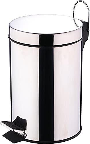 Renberg Stainless Steel Pedal Bin with Inner Buket 3 Liter, Sliver