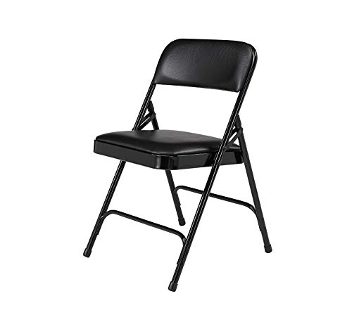 Premium Premium Vinyl Upholstered Double Hinge Folding Chair, Caviar Black (4 Pack)