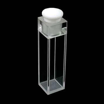 Est/ándar de 10/mm cuarzo de fluorescencia con PTFE Stopper