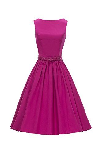 iLover 50s Vintage Rockabilly Blumenkleid Hepburn Stil Partykleid ...