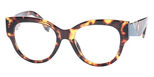SOOLALA Ladies Modern Fashion Prescription Eyeglass Frame Cat Eye Reading Glass, Leopard, ()