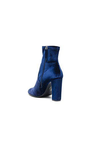 Steve Madden Editt, Zapatos de Tacón con Punta Cerrada para Mujer, Steve Madden Editt Blush Velvet, 35 EU Azul (Navy Velvet)