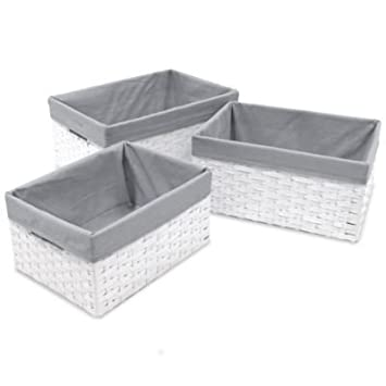 Merveilleux W.C. Redmon 3 Piece Basket Storage Set With Grey Liners In White