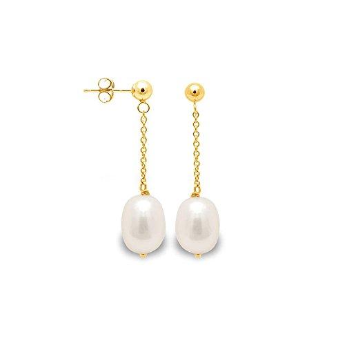 Boucles d'Oreilles Pendantes Perle de Culture Blanche et or jaune 750/1000 -Blue Pearls-BPS K339 W BLC
