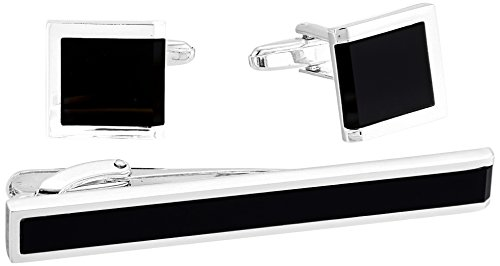 Stacy Adams Men's Square with Jet Acrylic Inlay Open End Cuff Link and Tie Bar Set, Silver/black, One Size
