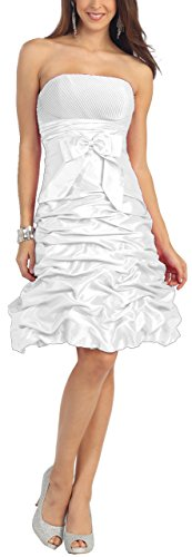 Standesamtkleid Abendkleid Nachtigall Lerche NL505 kurz Cocktailkleid Brautkleid Weiß Brautjungfernkleid InqHtq