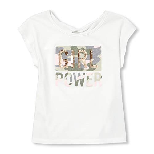 The Children's Place Girls' Big Short Sleeve Graphic T-Shirt, Simplywht, S (5/6) (Best Place For Plain T Shirts)