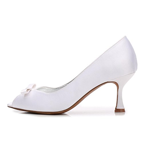 L@YC Womens Work Platform Wedding Court Shoes Bowknot Pumps Stiletto Low Mid Kitten Heel Size 3-8 White 8ltEDVdND