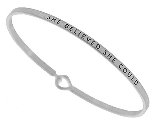 (Gift Boxed) ST Collection Women's -SHE Believed - SHE Could- 3mm Message Silver Plated Brass Bangle Bracelet (Worn Silver)