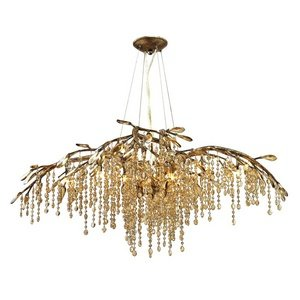 - Golden Lighting 9903-12 MG Chandelier with Amber Tinted Leaded Crystal Shades, Mystic Gold Finish