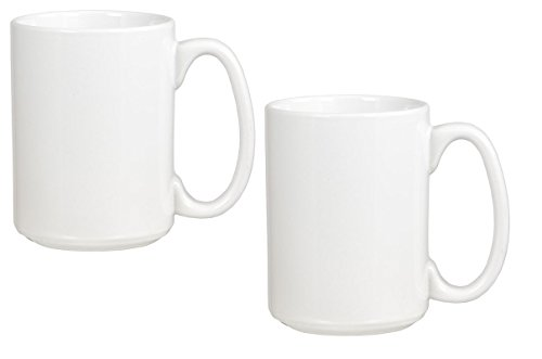 (El Grande Style Large Ceramic Coffee Mug With Big Handle, White 15 oz. (Pack of 2))