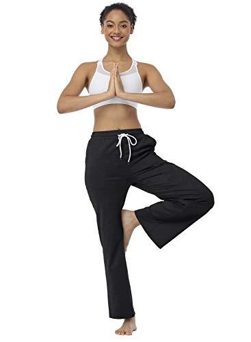 JULYER Womens Lounge Pants Drawstring Bootcut Wide Leg Yoga Pants for Women with Pockets (Black, X-Large)