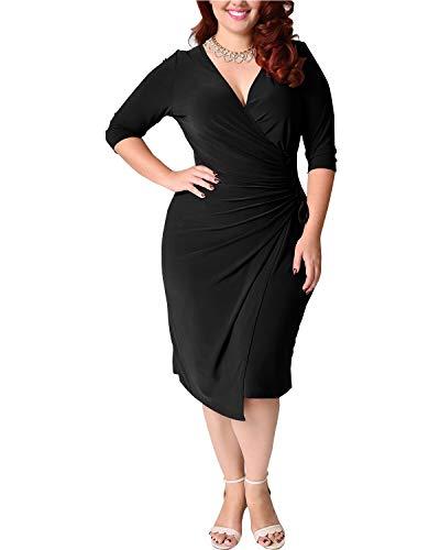 Santwo Women's Plain V Neck Ruched Midi Bodycon Party Dress Waist Tie Adjustable (A-Black, XL)