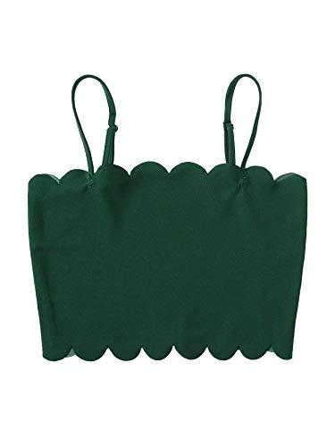 SHEIN Women's Sexy Backless Straps Camisole Scalloped Crop Cami Top Medium Dark Green
