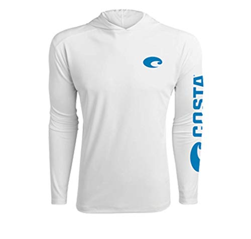 Costa Hooded Technical L/S Performance Shirt, White, S ()