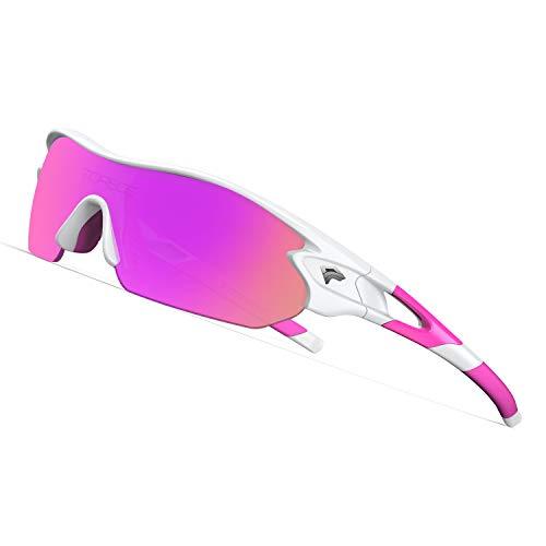 (TOREGE Tr90 Flexible Kids Sports Sunglasses Polarized Glasses for Junior Boys Girls Age 3-12 TR04 (White&Pink&Purple REVO Lens))