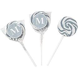 Personalized Silver Monogram Swirl Lollipops