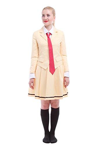 [Womens Kuroki Tomoko Anime Cosplay Preppy style School Uniform Sets Yellow L] (Preppy School Girl Costumes)