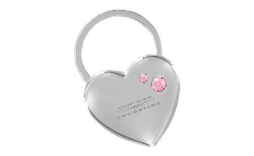 - Chrysler Crossfire Heart Shape Keychain 2 Pink Crystals Key Chain