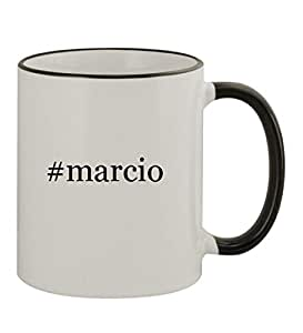 #Marcio - 11oz Hashtag Colored Rim & Handle Sturdy Ceramic Coffee Cup Mug, Black