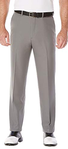 PGA TOUR Men's Flat Front Golf Pant with Expandable Waistband, Quiet Shade, 34X32