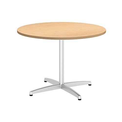 - Bush Business Furniture 42W Round Conference Table with Metal X Base in Natural Maple