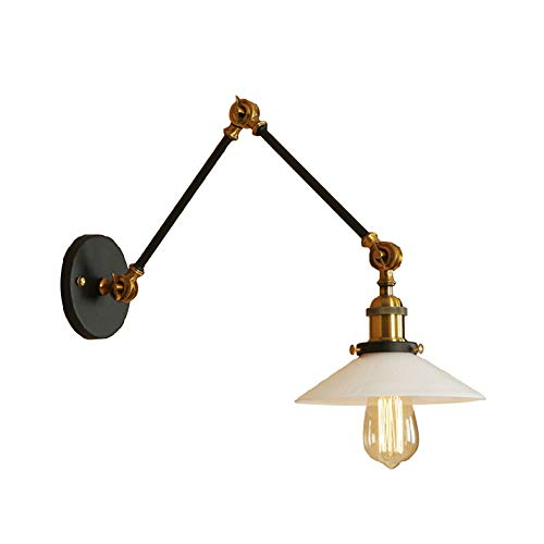 JINGUO Lighting Loft Style Saucer Shape Adjustable Wall Sconce Lighting Milky White Glass Shade Swing Arm Vintage Wall Light for Headboard, Bedroom,Cafe, Craft Room, Living Room(Black and Brass)