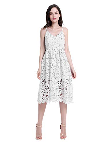 (ZURIFFE Women's Summer Wedding Party Cami Strap Midi Lace Dress White L)