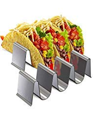 Taco Holder Stainless Steel Tray - Set of 2 Taco Stand, Ideal for Taco Tuesday & Kids Party Oven Baking, Dishwasher and Grill Safe - Tortilla Rack, Taco Stand Up -