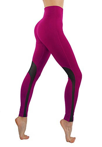 CodeFit Yoga Power Flex Dry-Fit Workout Leggings with Mesh Solid Color Print Pants (L/XL USA 6-10, CF/YL602-Magenta) ()