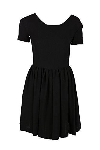 cacharel-womens-black-short-sleeve-crepe-de-laine-full-dress-36