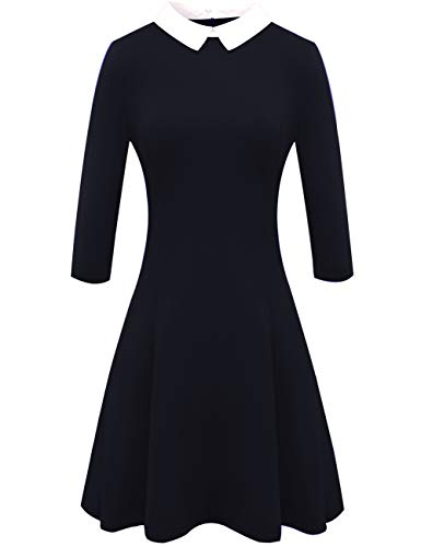 Melynnco Women's 3/4 Sleeve Casual Dress Wear to Work with Peter Pan Collar Black Medium -