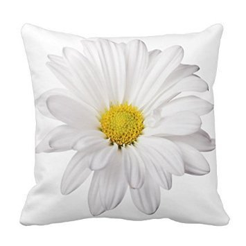 White Daisy Flower Decorative Pillow