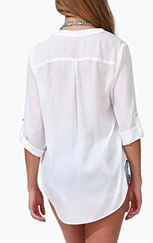 Chemisier Tops lgant Button Printemps Impression Femme Longues Casual Chemisiers Jeune Shirt Bandage V Cou Modle Mode Mousseline Unique breal Mode Et Manches TtnqdAxw6