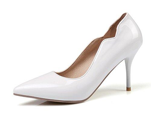 Aisun Damen Lack Kunstleder Spitz Zehen Stiletto High Heels Pumps Low Top Pumps Weiß