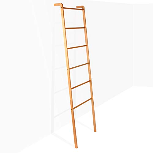 Brightech - Mila Decorative Ladder - Sturdy Metal and Wood Accessory for Indoor Outdoor Garden Porch Patio - Natural Wood