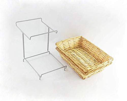 FixtureDisplays Two-Tier Display Rack for Counters with 2 Plastic Woven Baskets, Retail Displays 120023-FBA Fulfilment by Amazon