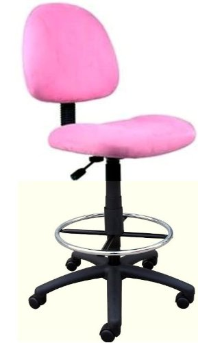 Super Soft Pink Microfiber Fabric Drafting Bar Counter Stools Chairs by Norstar
