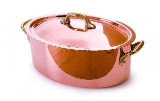 Mauviel M'Heritage Copper M150B 6521.20 2.1-Quart Oval Stockpot with Lid, Bronze Handles